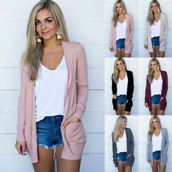 Women Knit Cardigan Long Sleeve Open Front Draped Sweater Loose Blouse Tunic Top $12.99