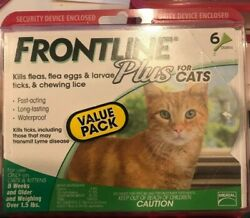 Frontline Plus for CATS 8 WEEKS 6 Doses GENUINE FACTORY SEALED FREE SHIP $44.99