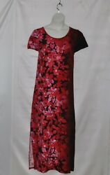 Bob Mackie Regular Ombre Floral Knit Maxi Dress Size 1X Red $21.59