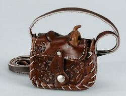 Small Brown Leather Miniature Western Saddle Shaped Coin Change Purse With Strap $17.95
