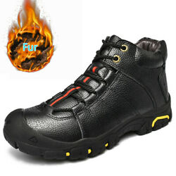 Genuine Leather Outdoor Men#x27;s Hiking Shoes Mountain Trekking Snow Boots Sneakers $43.90