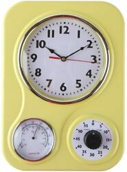 Home Decor Retro Kitchen Wall Clock with a Thermometer and 60 Minute Timer $29.99