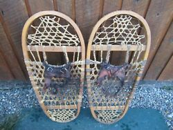 VINTAGE Snowshoes 31quot; Long x 13quot; Wide Has Leather Binding DECORATION $49.85