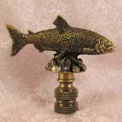 FISH FISHING LAMP FINIAL for old antique shade or lampshade rustic cabin $12.95