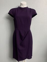 Lark amp; Ro Womens Eggplant Purple Dress Sheath Gathered Mock Neck $13.99
