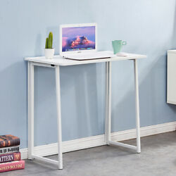 Folding Study Desk For Small Space Home Office Desk Laptop Writing Table White $77.99