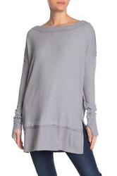 New NWT Free People North Shore Thermal Tunic Shirt Storm Grey Gray XS S M L $39.99