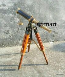 Nautical Brass Antique Telescope Vintage Spyglass W Wooden Tripod Stand Replica $45.00