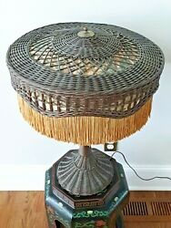Antique Natural Wicker Table Lamp Fringe Shade Victorian Mission Arts amp; Crafts $349.00