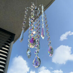 Crystal Prisms Wind Chimes Hanging Chandelier Chimes Home Hanging Decoration ba $14.43