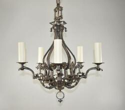 Antique Five Arm Gothic Revival Chandelier in Wrought Iron Pewter Finish $695.00