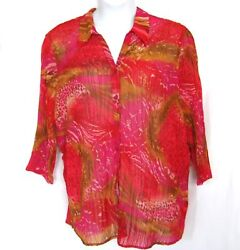 Avenue 26 28 Top 46 52quot; Bust Stretch Crinkle Pink Red Gold Colorful Plus Size $21.24