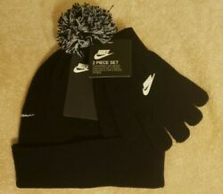Nike Youth 2 Piece Winter Hat And Gloves Set Black NWT $20.00