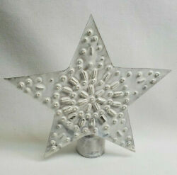 Rustic Country Whitewashed Punched Tin Metal Star Tree Topper 5.5quot; $9.95