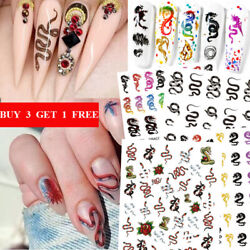 3D Nail Stickers Dragon Snake Transfer Sticker Nails Colorful Adhesive Decal DIY $1.99