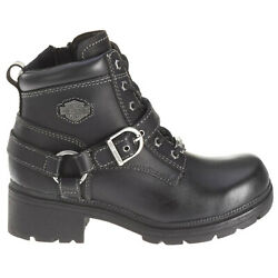 Harley Davidson Womens Boots Tegan Casual Ankle Lace Up Zip Up Buckle Leather $155.76