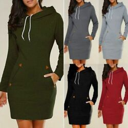 Women Casual Dress Long Sleeve Hoodie Hooded Jumper Pullover Sweater Tops Autumn $14.72