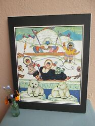 vintage illustration of children and animals from Arctic by Holling 1929 $19.50