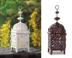 Candle Lanterns Decorative Outdoor Moroccan Coffee Table Hanging White Holder $29.50