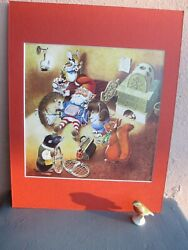 vintage illustration of gnomes and woodland animals by Tony Wolf 1984 $19.50