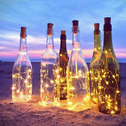 4Pcs Wine Bottle Cork Fairy String Light 2M 20 LED Lights Battery Operated Party $7.99