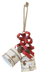 New Farmhouse Shabby Rustic Christmas LARGE WHITE JINGLE BELL RED BOW Hanging $25.99