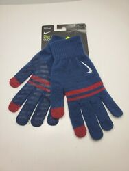 Nike Gloves Mens Blue amp; Red Striped Knit Touchscreen Silicone Grip SIZE:L XL NEW $14.95