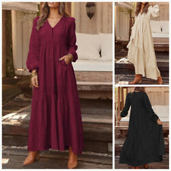 Womens Soft Cotton Long Sleeve Buttons Down Solid Baggy Casual Prom Party Dress $17.09