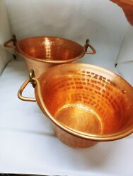 VTG Two Copper Bucket#x27;s Lilium Made in Italy 7quot; 1 2 $59.99