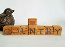 Heart Country Set of 8 Wood Blocks Shelf Sitter Hearthside Rustic Country Decor $12.50