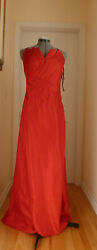 Phoebe Couture Red Dupioni Silk Fan Pleat Strapless Dress Gown long maxi 12 $100.00
