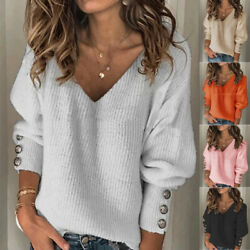 Women Casual Knitted Pullover V Neck Long Sleeve T Shirt Solid Blouse Loose Tops $16.50