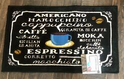 NEW Living Classic Kitchen Coffee Rug Floor Scatter Mat 18quot; x 30quot; Blue Cup Mug $16.99
