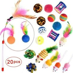 20 Pcs Cat Toys Cat Wand Toys for Kittens Cat Teaser Toys Interactive Cat Toys $10.73