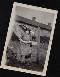 Vintage Antique Photograph Woman Leaning on Brick Wall on Laundry Day $5.00