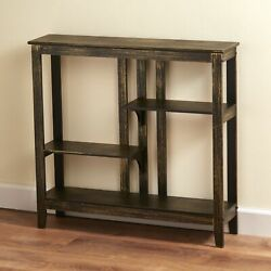 Distressed Finish Console Table Narrow Hallway Table with Display Shelves $81.97