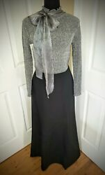 ♡Ann Taylor♡ Long Formal Skirt and *Bonus* Silver Metallic Sweater Size 4 Small $35.00