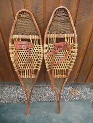 BEAUTIFUL VERY OLD VINTAGE Snowshoes 42quot; Long x 10quot; Wide with Leather Bindings $99.42