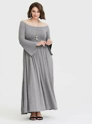 Torrid Womens Gray Off The Shoulder Jersey Gray Maxi Dress 1X 1 Plus Size NWT $49.99