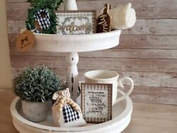 5 Piece Mini Welcome Sign Set  Tray Bowl Filler Farmhouse Rustic Décor $20.00
