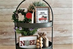 5 Piece Mini Sign Set Tiered Tray Bowl Filler Farmhouse Rustic Décor $20.00