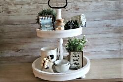 5 Piece Mini Farmhouse Bathroom Sign Set Tiered Tray Bowl Filler Rustic $20.00