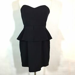 Forever Twenty One Dress Womens Large Strapless Peplum Back Ruffled Tail Black $19.99