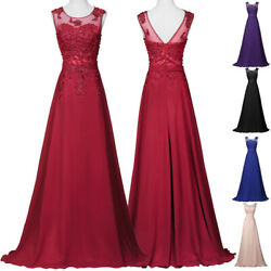 Chiffon Long Wedding Bridesmaid Formal Evening Lace Party Cocktail PLUS Dresses C $30.61