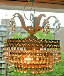 VINTAGE CHANDELIER 3 TIERED WATERFALL STYLE 40s 50s NOT A REPRODUCTION 10.5#x27;#x27; $159.45