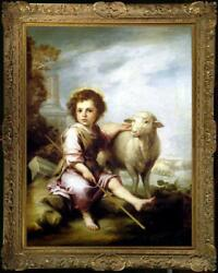 Old Master Art Antique Oil Painting Portrait small girl sheep on canvas 24quot;x36quot; $460.00