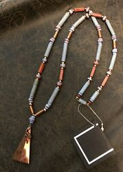 NECKLACE ANTIQUE GLASS TRADE BEADS COPPER WOOD ART GALLERY HAND MADE 1 OF A KIND $55.00