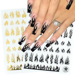 3D Holographic Fire Flame Nail Stickers Gold Black Decal DIY Nail Art Decoration $1.99