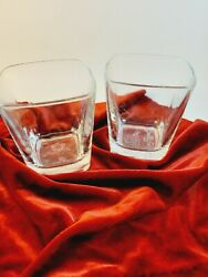 2 Crown Royal Cocktail On the Rocks Glasses Raised Logo Barware 3.75quot; tall $15.99