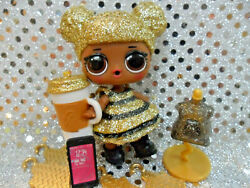 1 LOL SURPRISE quot;QUEEN BEEquot; GLITTER GOLD BIG SISTER DOLL amp; ACCESSORIES SEALED $20.98